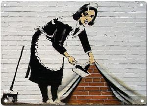 Banksy Maid Cleaning Wall metal sign   200mm x 140mm  (2f)